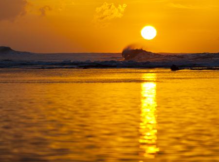 Lagoon sunset near the Na Pali Coast in Kauai, Hawaii. Stock Photo