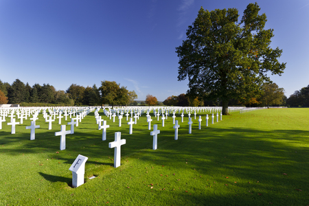 Blue sky and sunshine at the American military cemetery Henri-Chapelle near Aubel in Belgium.