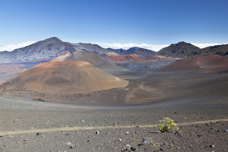 View into the colorful Haleakala Crater in Maui, Hawaii.