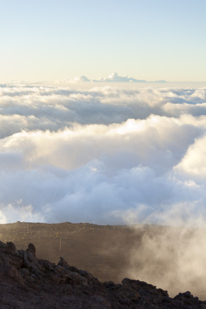 Above the clouds in Maui, Hawaii. Stock Photo