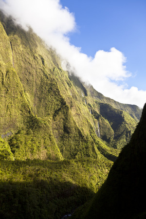 View from helicopter out of the Blue Hole in the center of Kauai, Hawaii. Stock Photo