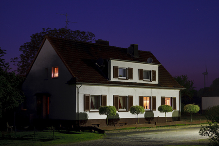 Night view of a German semi-detached house. Editorial