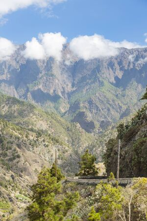 View along the entrance canyon to the Caldera de Taburiente in La Palma, Spain with the only access road in the foreground.