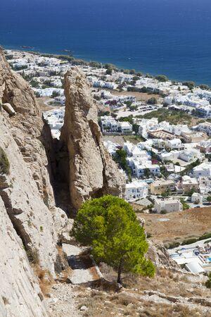 View from halfway up to the Profitis Ilias down to Kamari, Santorini. 写真素材