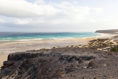 Beach and and the famous lagoon at Playas De Sotavento near Risco El Paso.