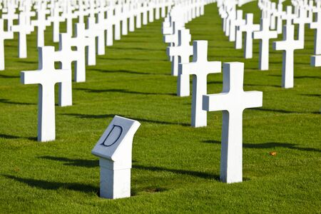The American military cemetery Henri-Chapelle near Aubel in Belgium. Starting point of all the graves for soldiers names beginning with the letter D. 写真素材