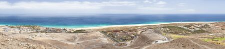 Panoramic view of the coastline near Morro del Jable in Fuerteventura, Spain.