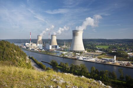 Shot of the nuclear power plant in Tihange, Belgium at the river Meuse seen from a hill.