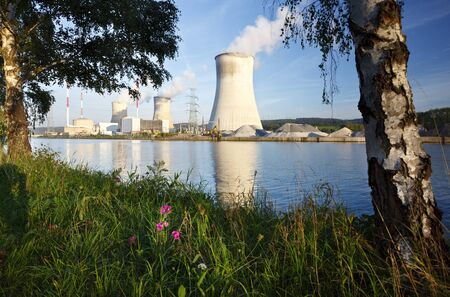 Daytime shot of a nuclear power plant at a river with blue sky and some flowers and trees as foreground.