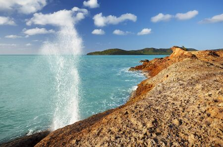 A blow hole produced by waves running into a crevice at Stony Horn, Antigua.