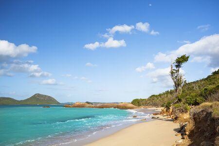 A secret and pristine beach difficult to reach in Antigua.