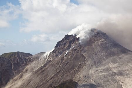 The top of the active Soufriere Hills Volcano in Montserrat seen from helicopter.