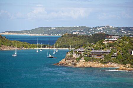 Deep Bay and residence buildings, Antigua.