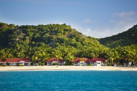 View to the Galley Bay in Antigua from a boat.