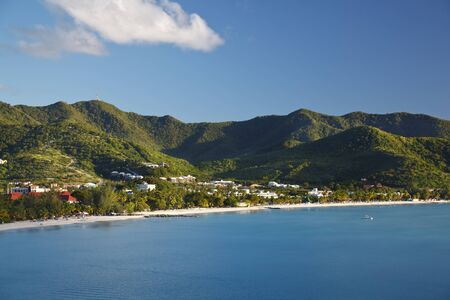 View from a hill to Jolly Beach and the eastern coast of Antigua.