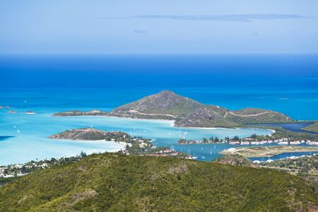 View from Boggy Peak to Jolly Harbour in Antigua. Stock Photo