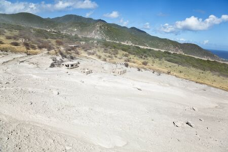 The remains of recent pyroclastic flows of the Soufriere Hills Volcano in Montserrat. Aerial view from helicopter.