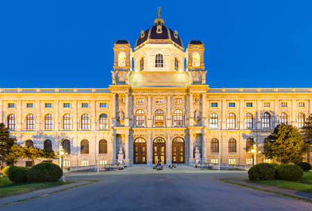 Front view of the Kunsthistorisches Museum (Museum of Fine Arts) in Vienna, Austria at night. Editorial