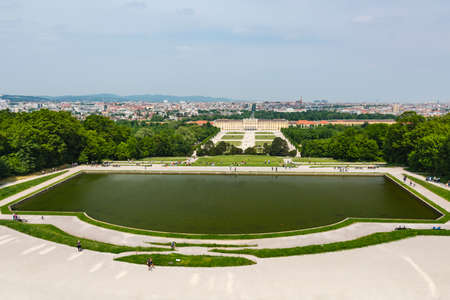 High angle view over the large Schoenbrunn Palace park in Vienna, Austria. Standard-Bild - 149318837