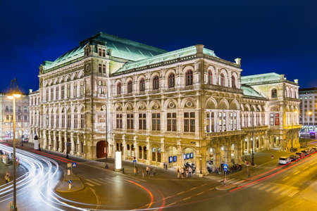 High angle view of the Vienna State Opera (Wiener Staatsoper) at night, Austria. Editorial