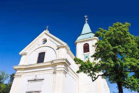 The Josefskirche (Josefs Church) on top of the Kahlenberg in Vienna, Austria with deep blue sky.