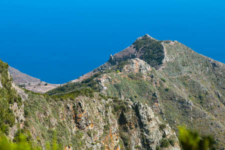 Lomo de Las Casillas in the Anaga Mountains in the north of Tenerife, Spain from an observation point.