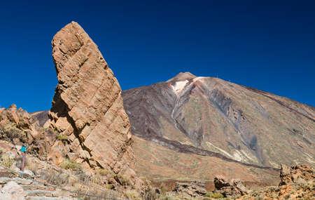 Los Roques de Garcia rock formation in front of the Pico del Teide in Tenerife, Spain.