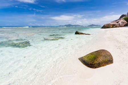 A small secluded beach near Anse Source D'Argent in La Digue, Seychelles
