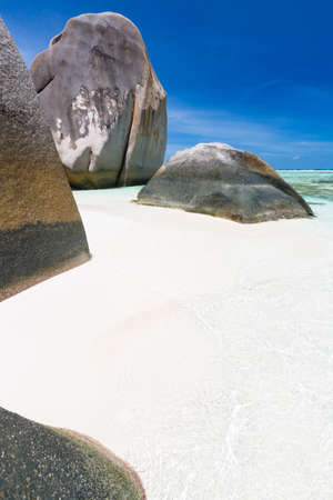 Beautiful white beach Anse Source D'Argent in La Digue, Seychelles with scenic granite rocks Stock Photo