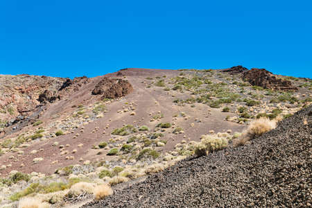 Landscape on the hike through the Arenas Negras in Tenerife, Spain. Stock Photo