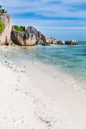 Beautiful granite rock at Anse Source D'Argent in La Digue, Seychelles