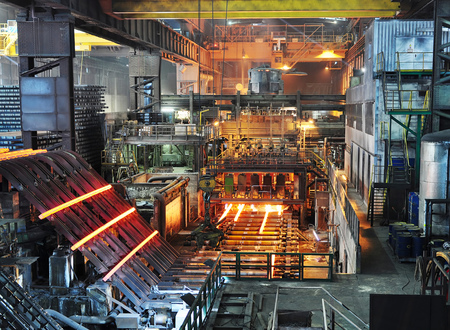 Production of steel in a steel mill - production in heavy industry Stok Fotoğraf