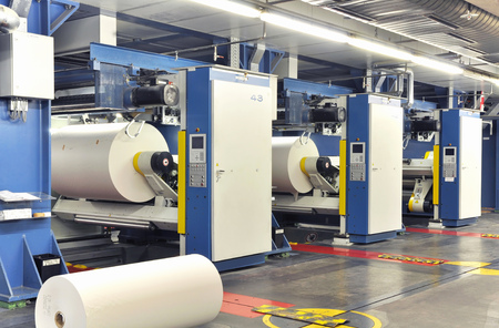 Paper rolls in a printing machine of a large print shop