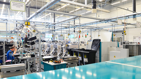 interior an architecture of a industrial building for production and assembly of microelectronics components
