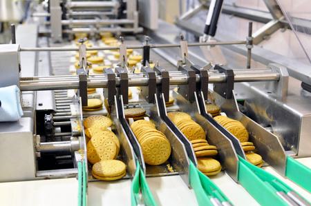 transportband met koekjes in een voedselfabriek - machines apparatuur