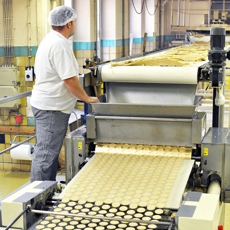 food industry - biscuit production in a factory on a conveyor belt