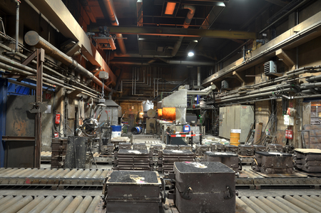 Interior of a foundry - workstation and equipment for the production of metal castings Stock Photo