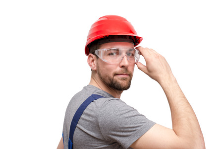 isolated craftsman construction worker assembler workmen - friendly worker in working clothes on white background