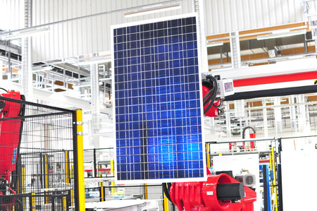 high tech factory - production of solar cells - machinery and interiors - solar panel factory automation Фото со стока - 94047556