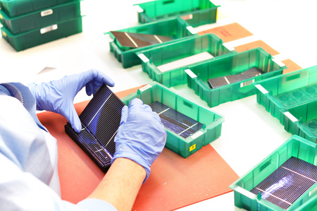 production of solar cells - wafer modules for final assembly - Stock Photo