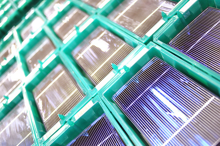 production of solar cells - wafer modules for final assembly Stock Photo