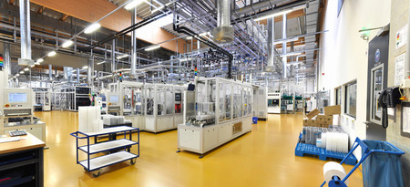 high tech factory - production of solar cells - machinery and interiors
