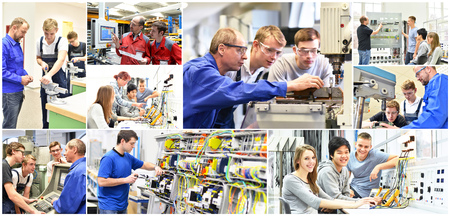 Group of young people in technical vocational training with teacher - collage with various pictures