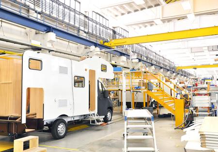 Production of camper vans  motorhomes  caravans in a factory