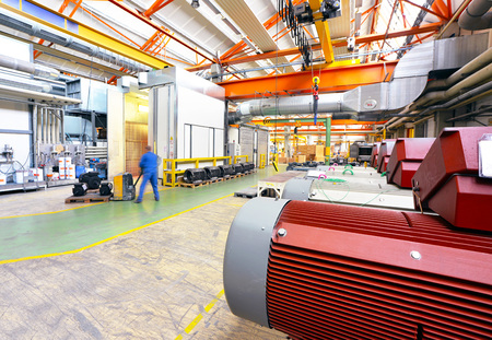 architecture and equipment of a factory for mechanical engineering: assembly of electric motors Reklamní fotografie