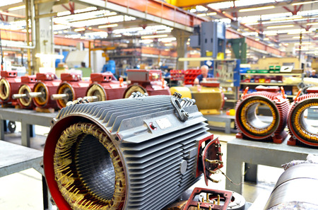 manufacture of big electronic motors in an industrial company - equipment and interior of the production halls