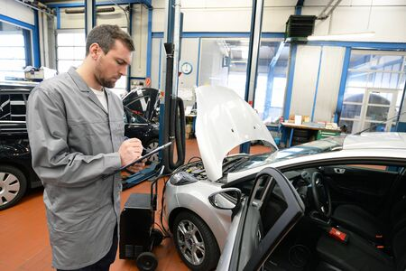Work in an auto repair shop - service employee controlled condition of a vehicle