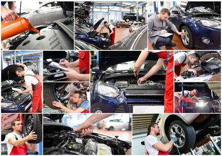 Car repair - mechanic in a workshop - car wash - collage with different motives in the working world