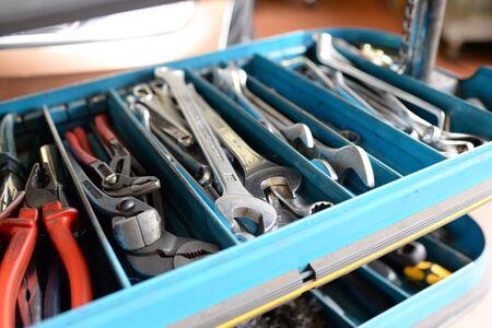 closeup tool box in a car workshop
