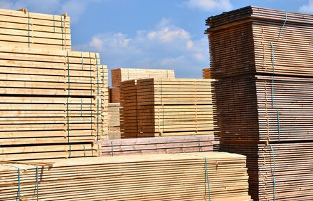 Timber mill sawmill: storage of planed wooden boards